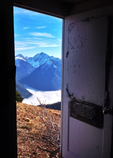 A doorway view of Vertical mountain